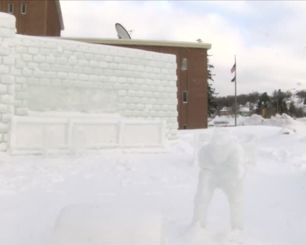 Students finish snow sculptures