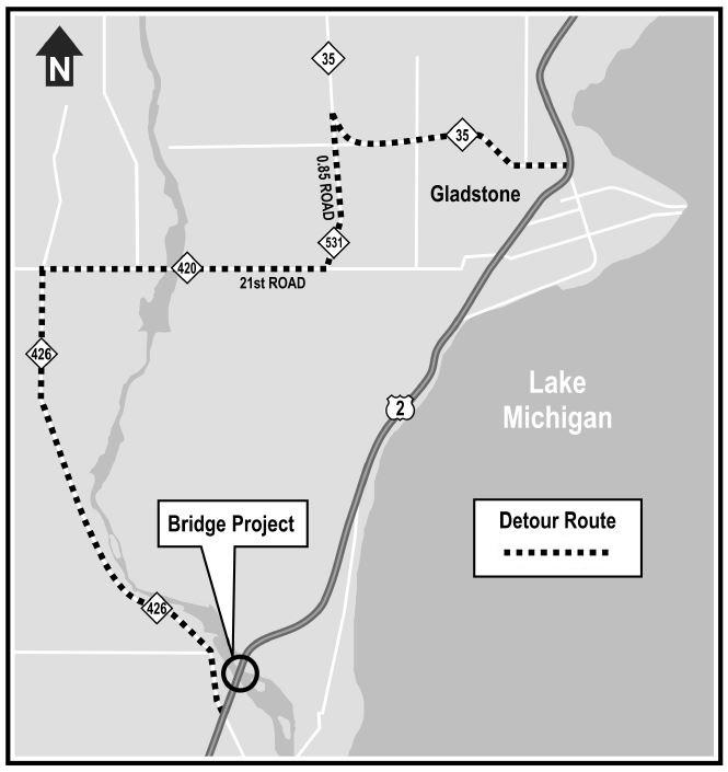 US-2 Escanaba River Bridge closure, detour is Nov  28