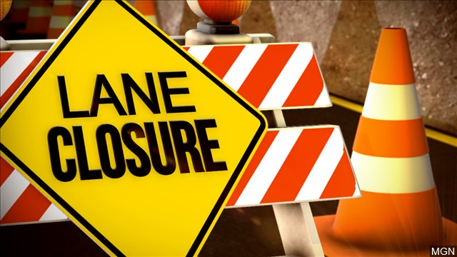 Lane closure, road work, road construction