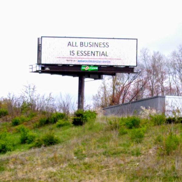 All business is essential billboard