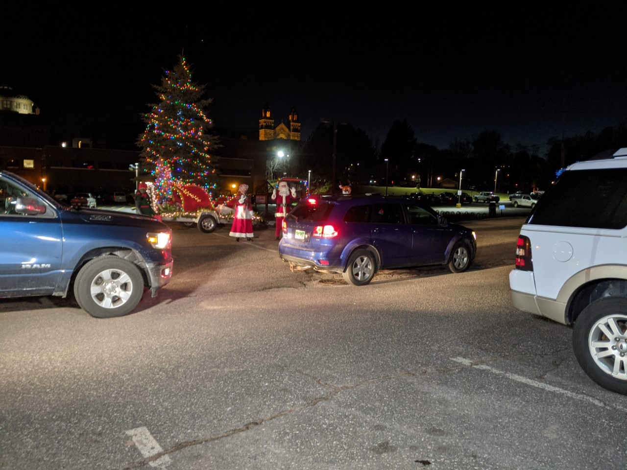 Drive-thru santa visit at the Marquette Commons